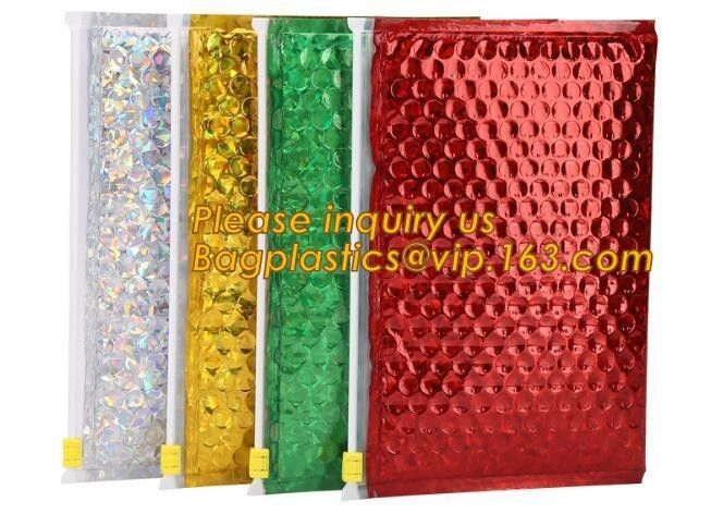 Hot Metallic Colorful Bagease Packaging Zipper Bubble Bag For Cosmetic Packaging,Ziplock Bubble Bags are Made of PET/CP