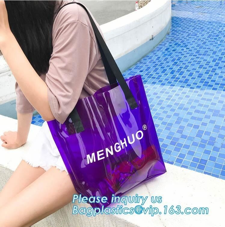 Recyclable Biodegradable Shopping Bags PVC Clear Shopping Gift With Card Header